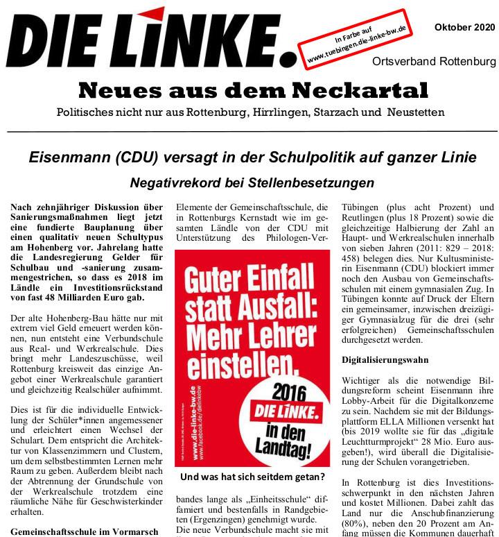 Neues aus dem Neckartal Oktober  2020
