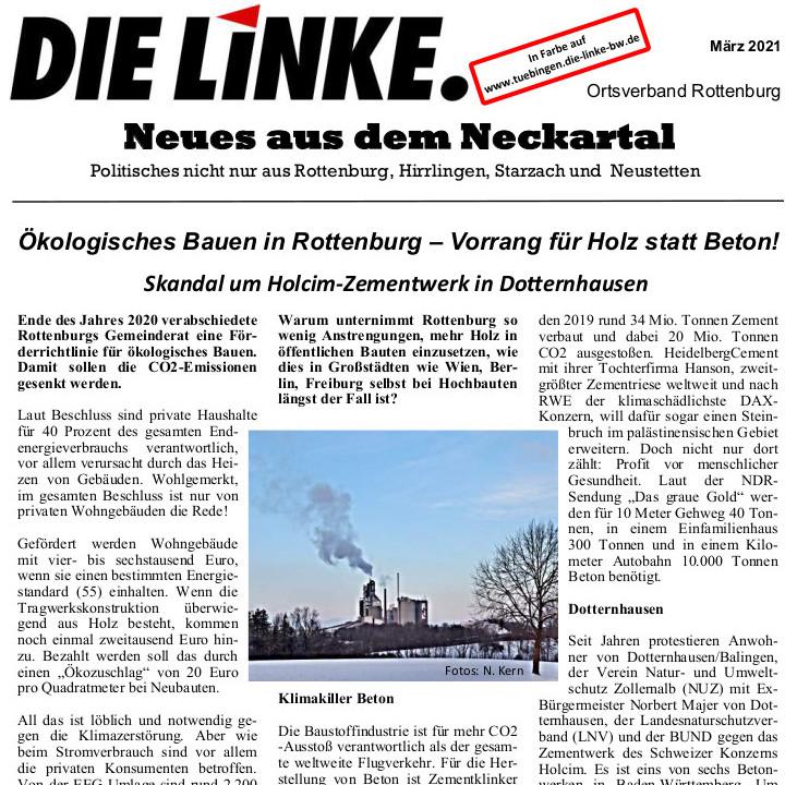 Neues aus dem Neckartal März 2021